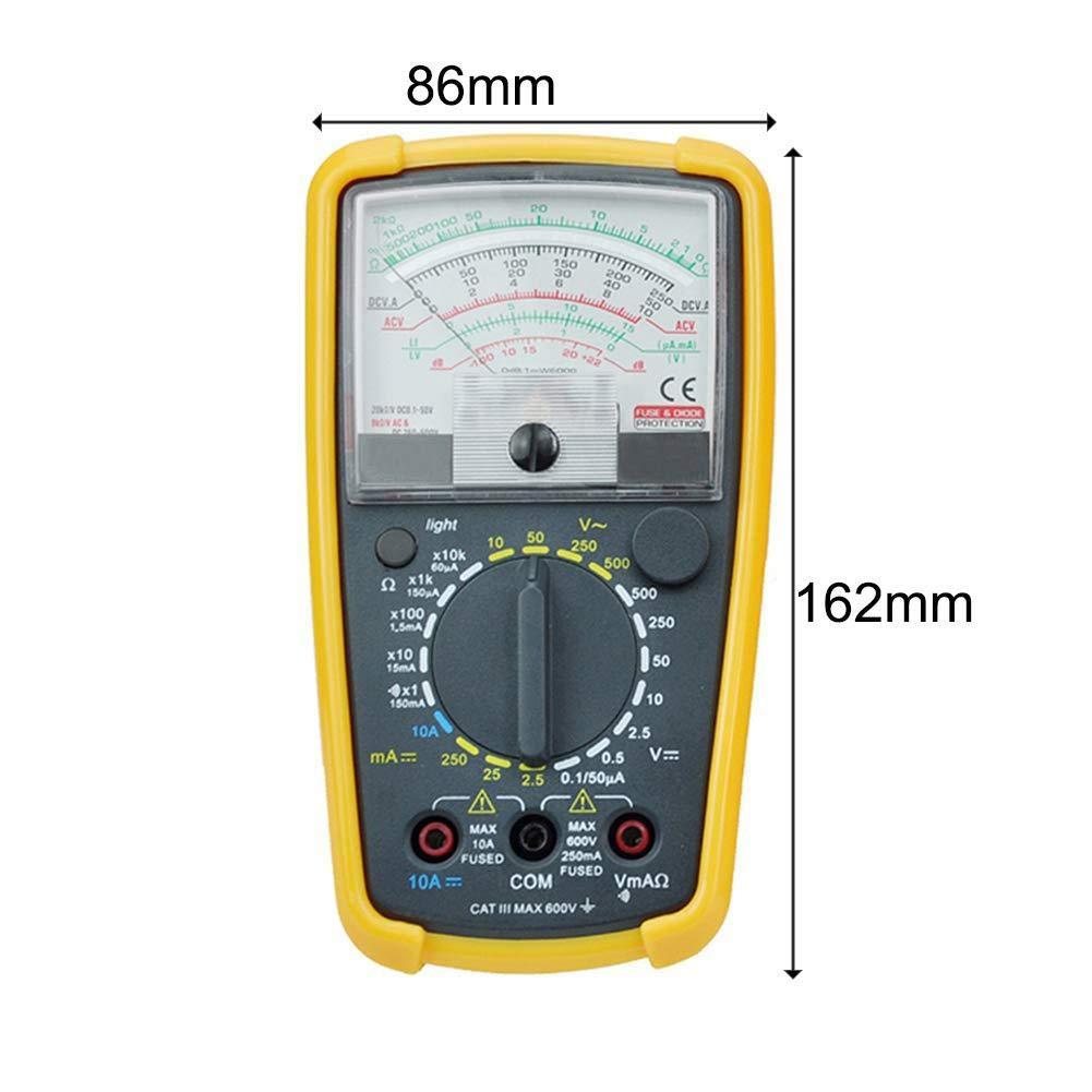 Multimetro analogico ad Alta precisione con Luce Posteriore con Robusta Custodia Protettiva