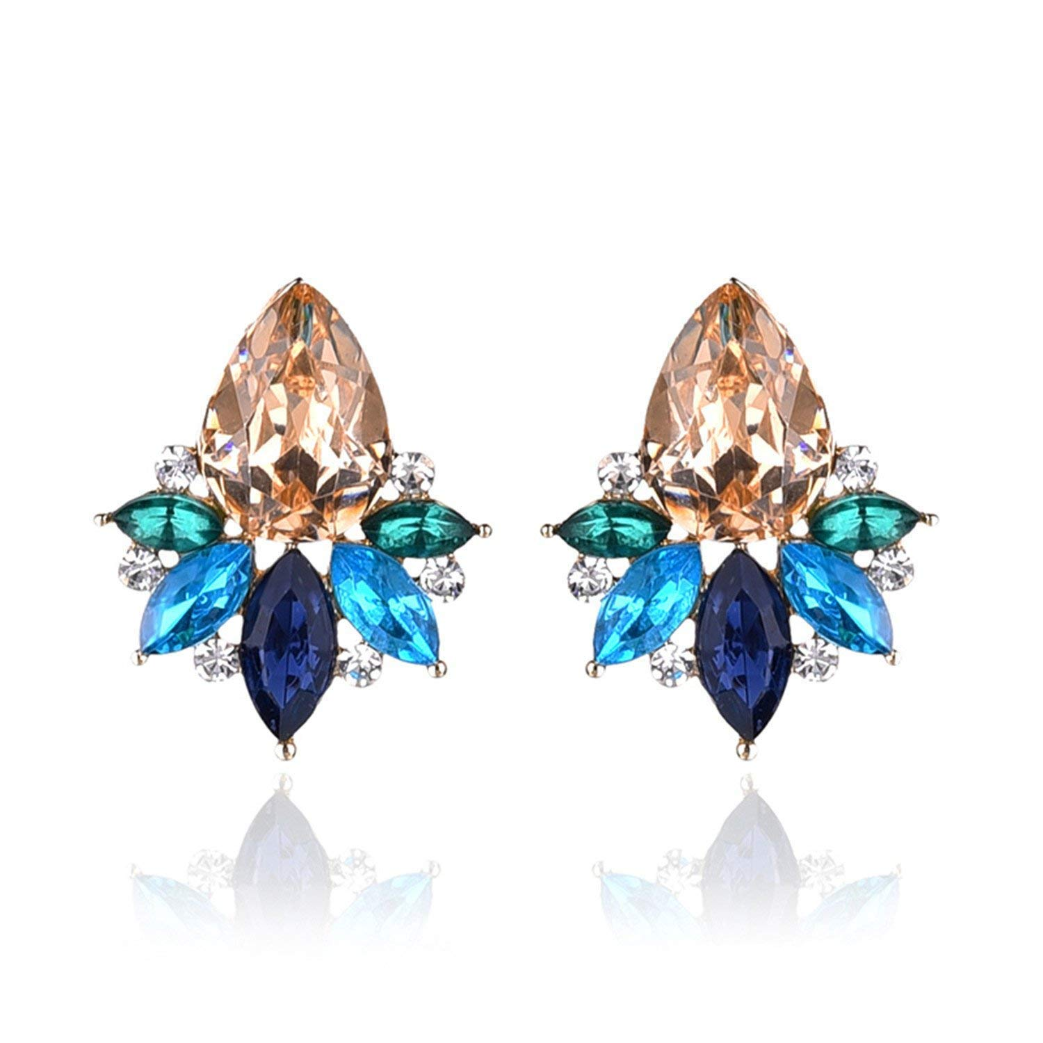DLNCTD Unique Colorful Acrylic Crystal Stone Stud Earrings Fashion Women Piercing Earrings Birthday Gift Party Jewelry New