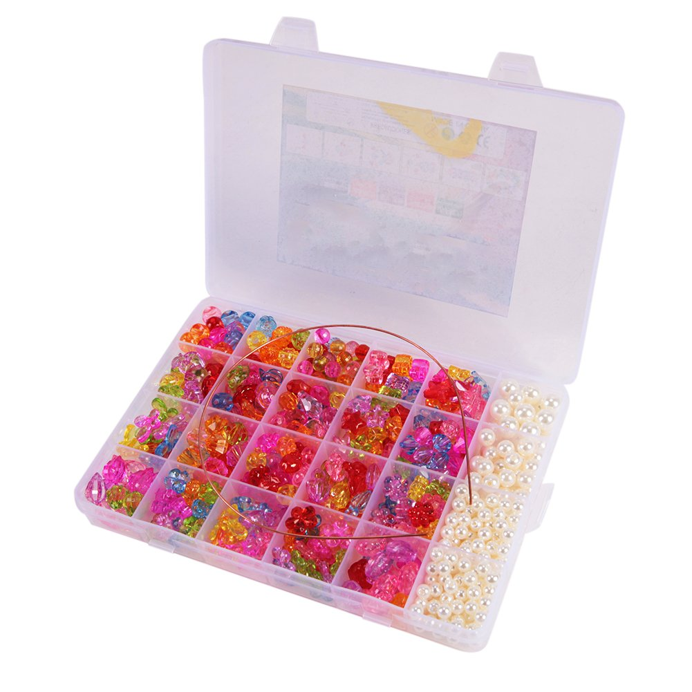 CHIC-CHIC Kids Children Mixed Beads DIY Jewellery Making Craft Box Kit Necklace Bracelet Funny Toy Set (Multicolour A)