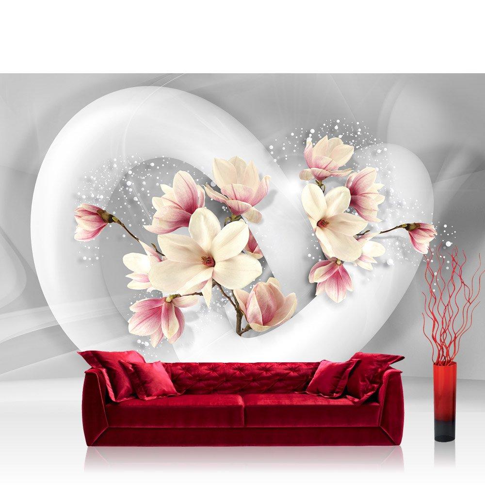 Vlies Fototapete 416x254cm PREMIUM PLUS Wand Foto Tapete Wand Bild Vliestapete - Blumen Tapete Blume Blüten Schnürkel 3D Punkte weiß - no. 1535