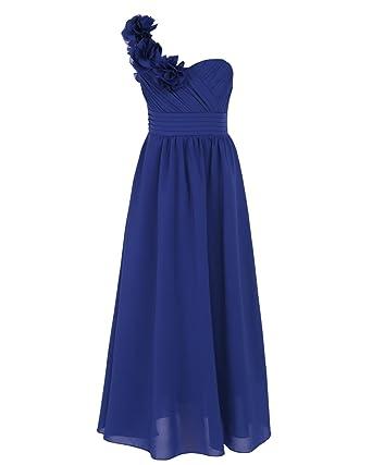 261c810b63e iEFiEL Robe Fille Demoiselle Enfant Une épaule Mousseline de Soie Jupe  Longue au Sol - Bleu