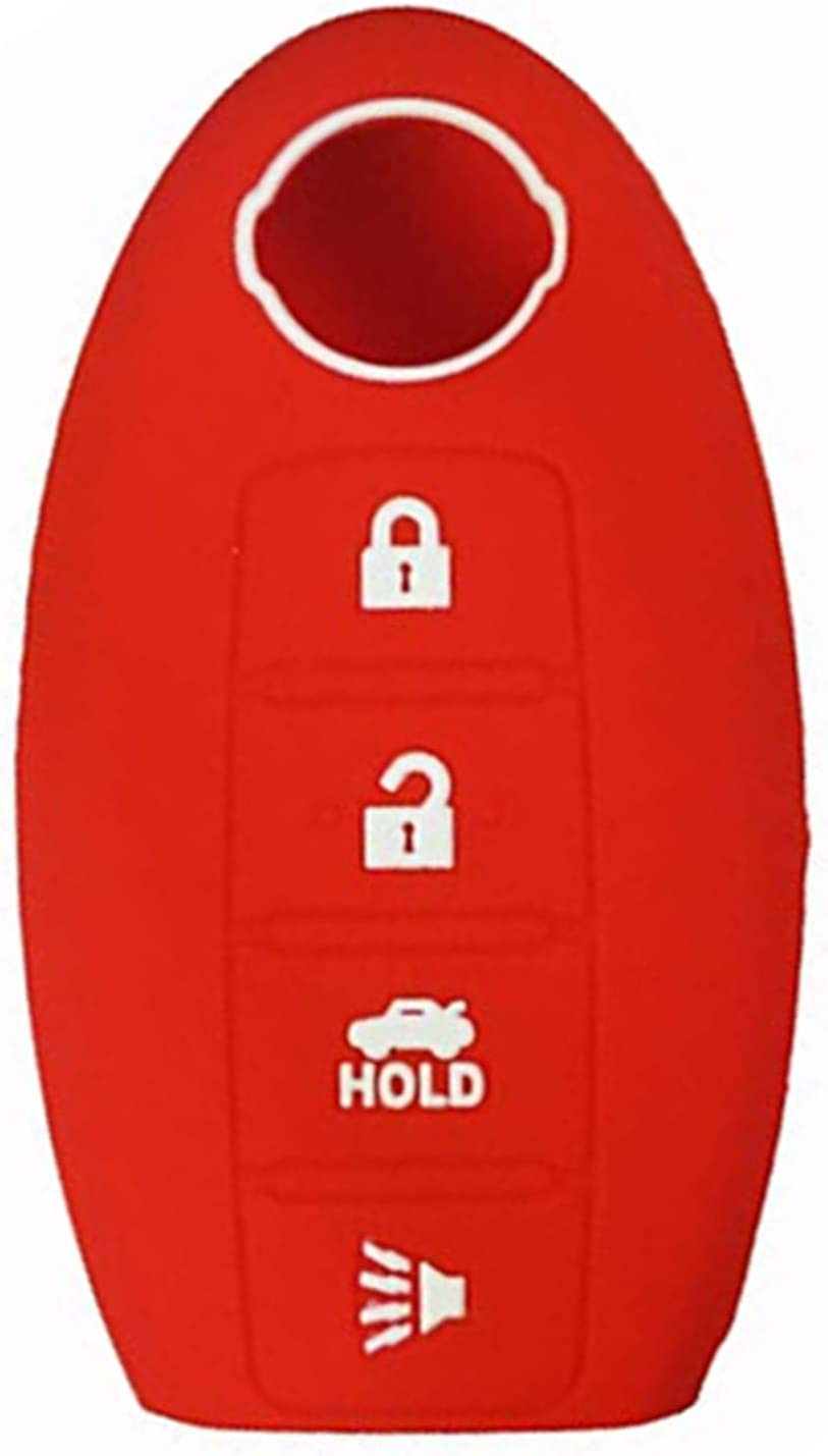 KAWIHEN Silicone 4 buttons Keyless Entry Smart Remote Key Fob Cover Protector For Nissan 350Z 370Z Altima Armada GT-R Leaf Pathfinder Rogue Sentra Maxima Murano Versa CWTWB1U840 285E3-3SG0D red
