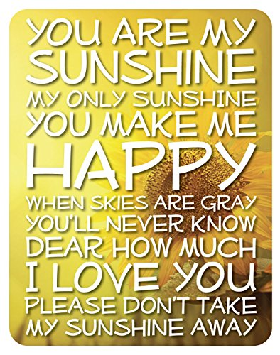 (Lake House Products 14 x 18-Inch Wood You are My Sunshine Sign, Yellow Background/White Font)