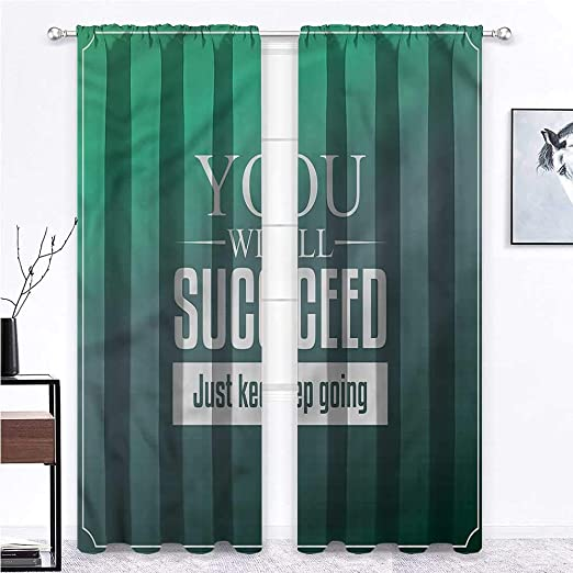 Amazon Com Gugeabc Blackout Window Curtain Motivational Light Filtering Room Darkening About Ambition 108 X 84 Inch 2 Panels Home Kitchen