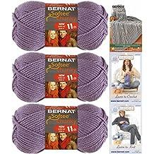Bernat Softee Chunky Yarn Bundle Super Bulky #6, 3 Skeins Lavender 28307