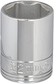 product image for SK Professional Tools 48222 1/2in. Drive 6-Point Metric Standard Chrome Socket - 22mm, Cold Forged Steel Socket with SuperKrome Finish, Made in USA