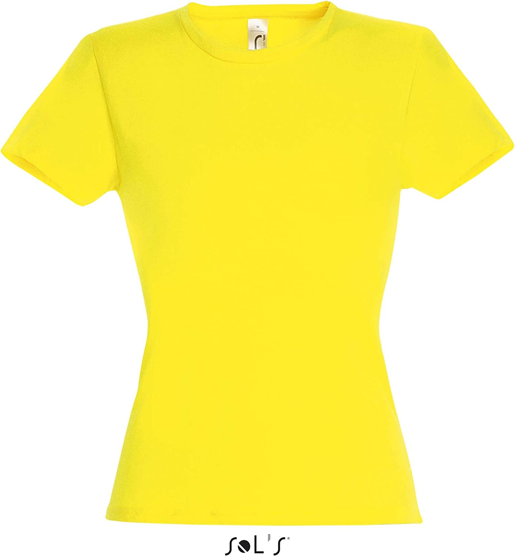 mit Ausschnitt Damen-T-Shirt 100 /% Baumwolle leicht SolS Miss