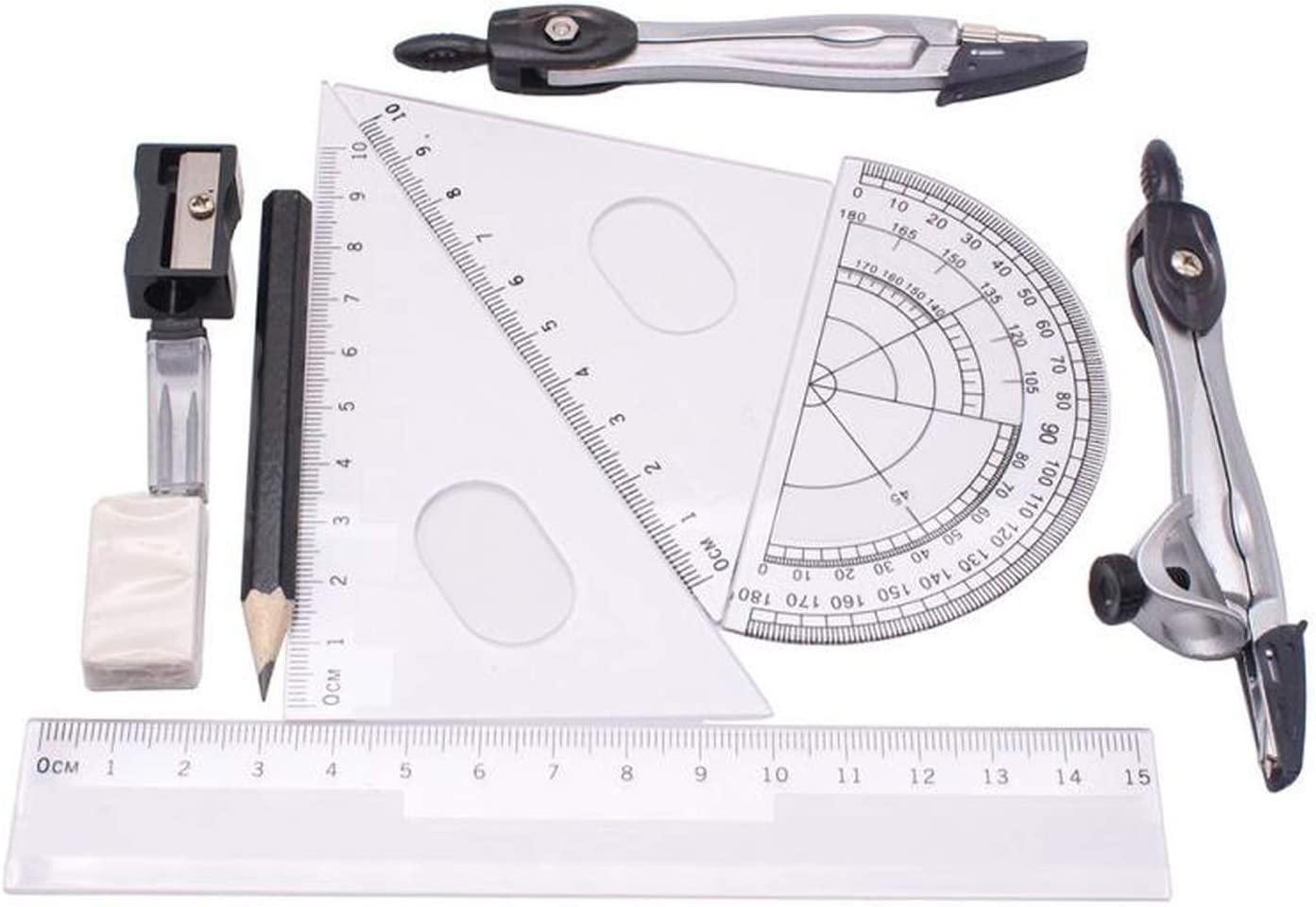 10Pcs Geometry Protractor Drawing School Compasses Set Math Eraser for Students School Divider,as Show