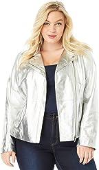 ae7fa4fe817 Roamans Women s Plus Size Leather Moto Jacket