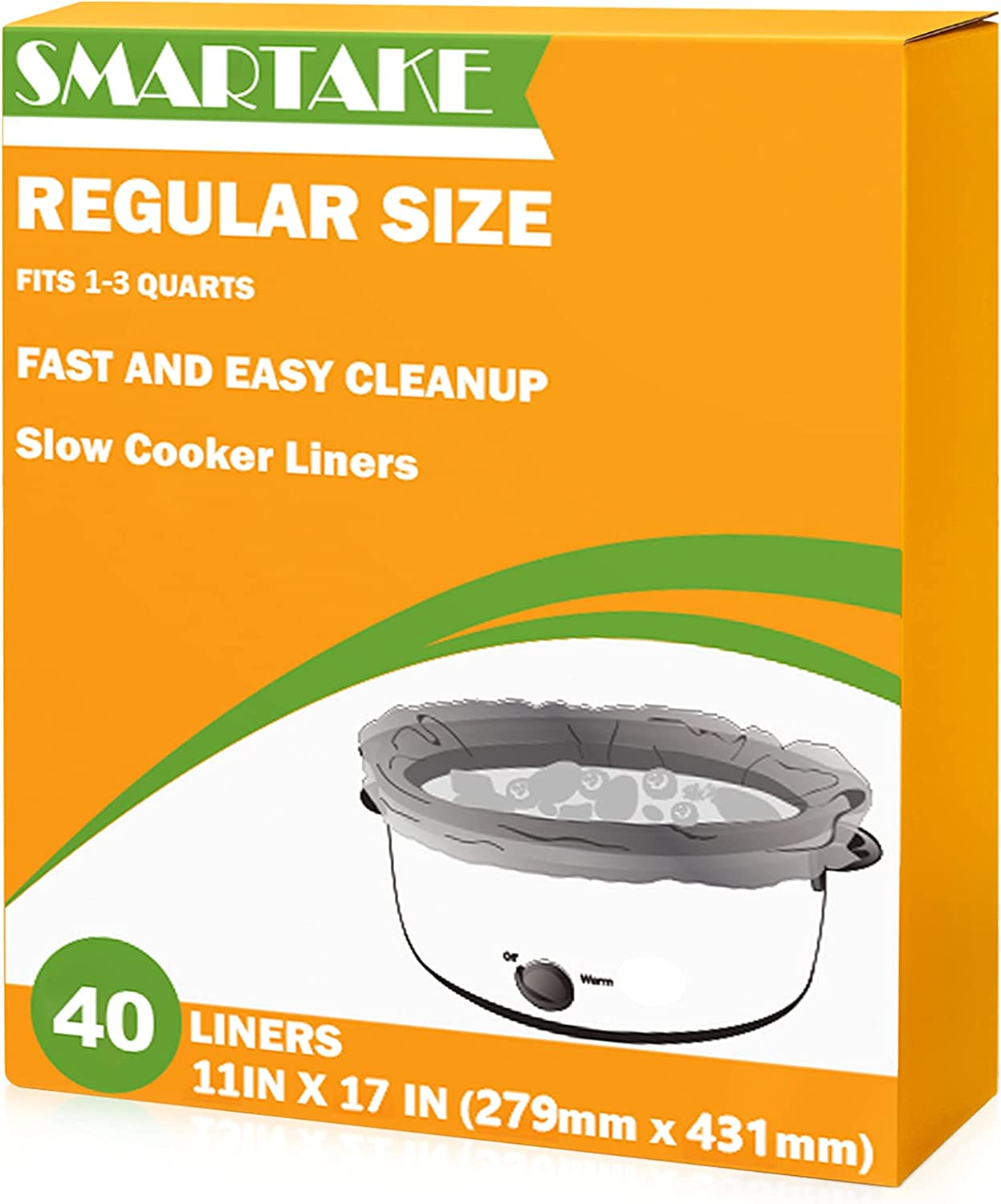 SMARTAKE Slow Cooker Liners, 11 × 17 Inches Disposable Cooking Bags, Easy Clean-Up Plastic Bags, Fit 1QT to 3QT, for Slow Cooker, Crockpot, Aluminum Cooking Trays, Pans, 1 Pack (40 Liners)