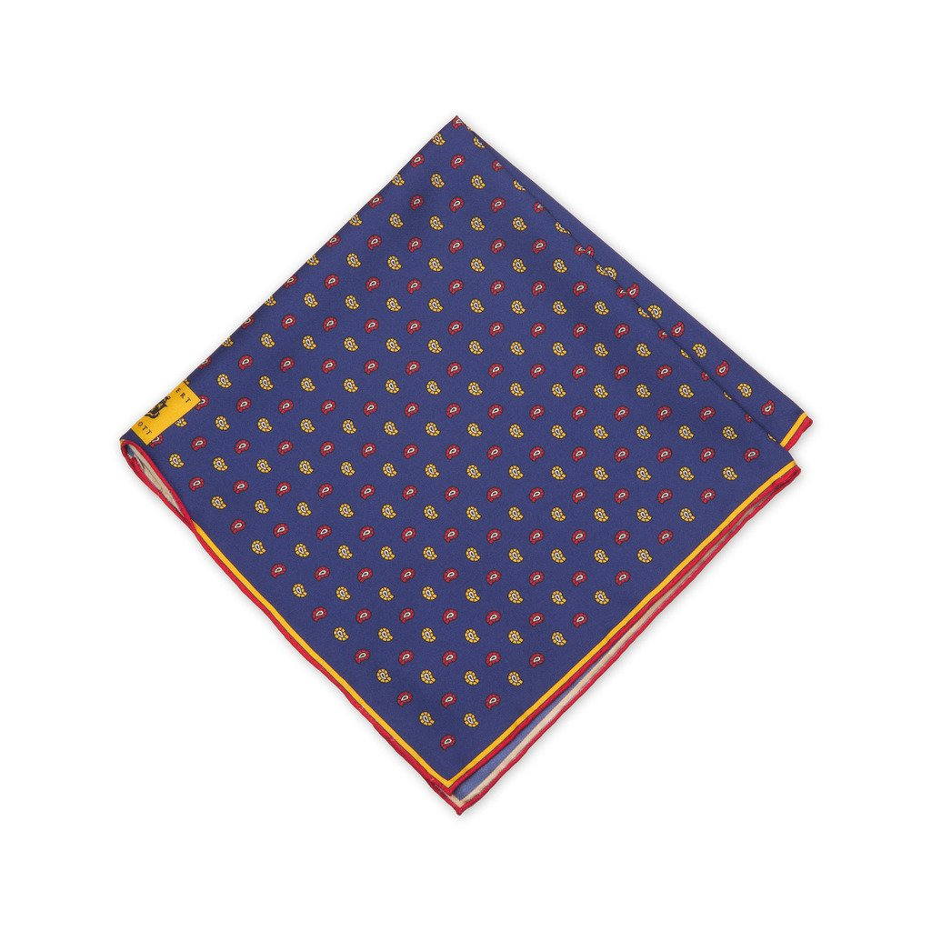 Robert Talbott Navy, Gold And Red Paisley Silk Pocket Square