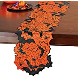 Collections Etc Halloween Applique Bats and Spiders Table Runner/Topper, Indoor Halloween Decoration, Runner