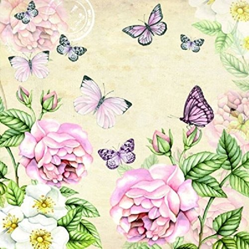 4 x Paper Napkins - Botanical Cream - Ideal for Decoupage / Napkin Art CraftyThings
