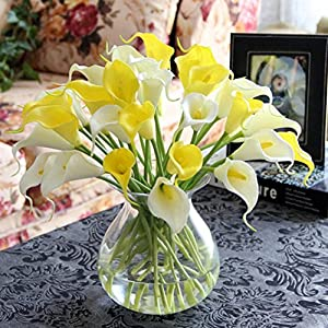 Leegor 10pcs Realistic and Lifelike Artificial Calla Lily Silk Flowers Floral Leaf DIY Home Wedding Decor Hotel Party Event Decorations Photography Show Props 64