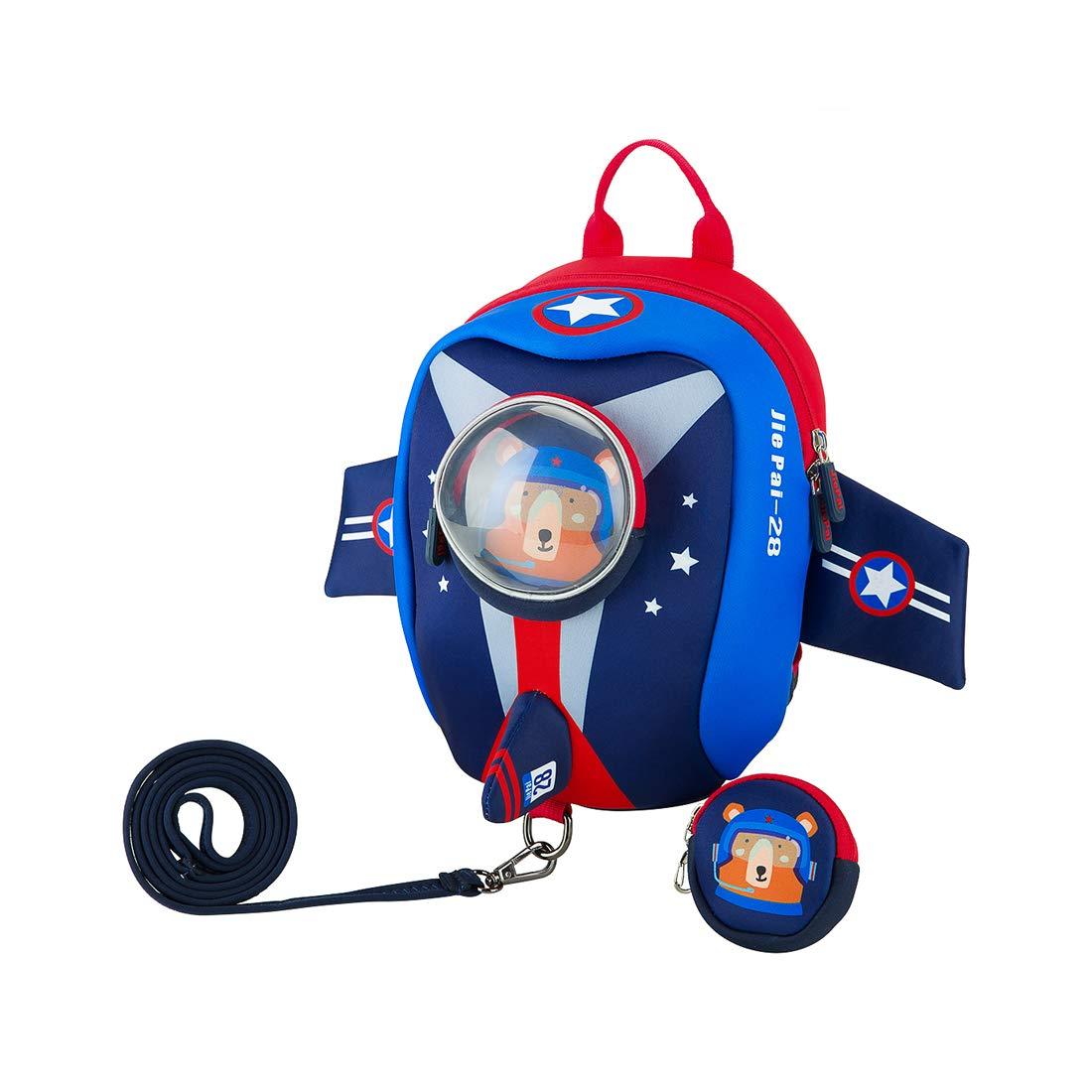 JiePai Toddler Kids Backpack with Safety Harness Leash,Waterproof 3D Cartoon Cute Travel/Nursery/Kindergarten/Preschool Backpack for Kids boys girls,Age 1-6 (Airplane-Pink)