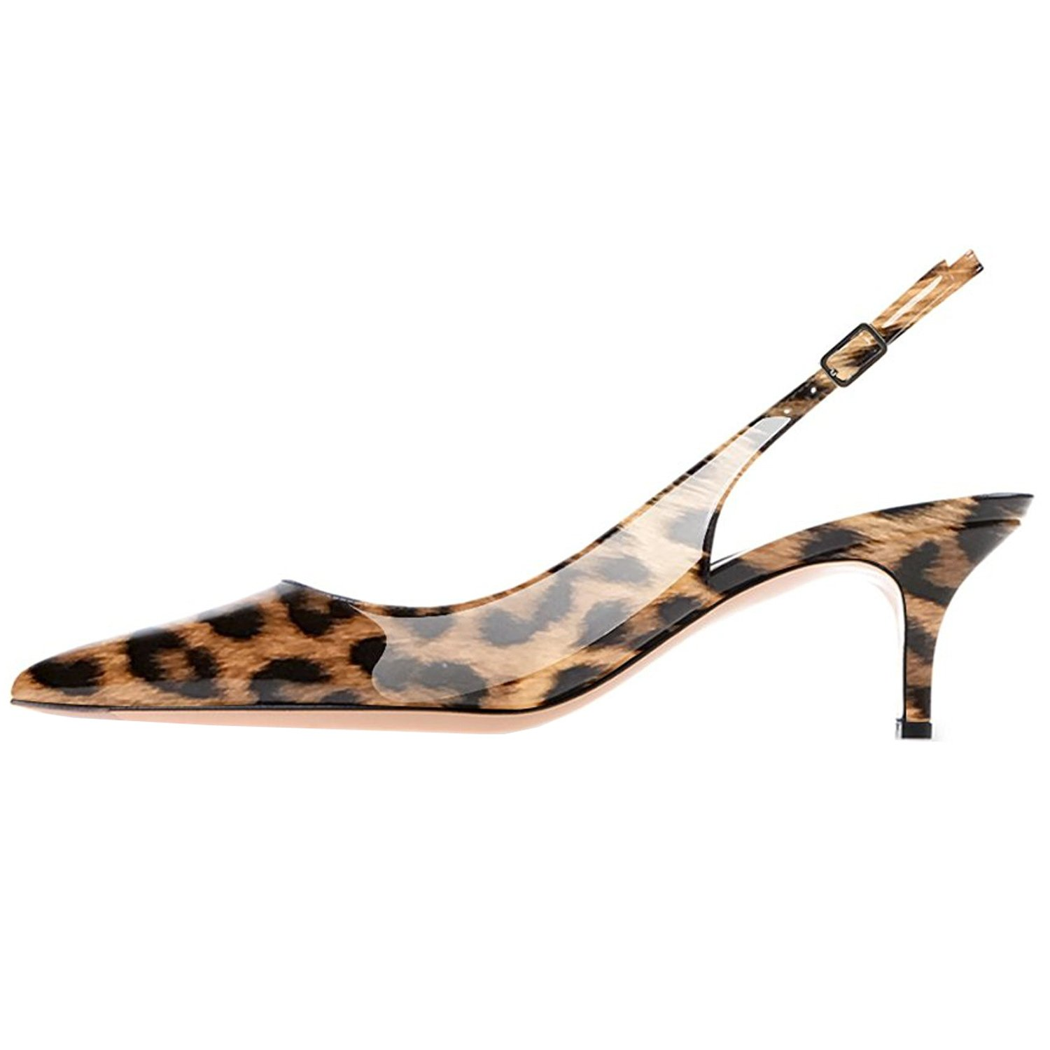 Lovirs Womens Slingback Ankle Strap Sandals Stiletto Mid-Heel Pointy Toe Pumps Shoes for Party Dress B078MNR4VS 10 B(M) US|Leopard Patent