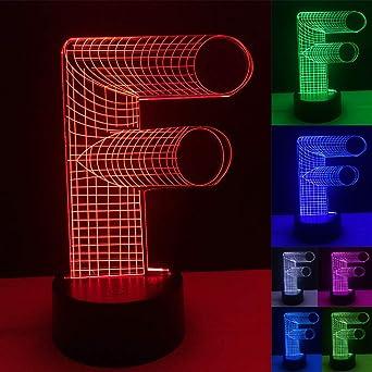 Novedad Bombilla 3D Alfabeto Letra F Lámpara 7 Cambio de color ...