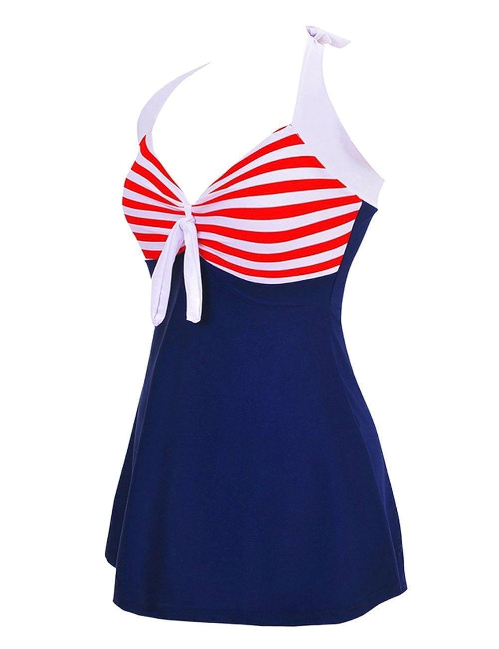 FeelinGirl Damen Tankini Sommer Badeanzug Einteiliger Swimsuit Mit H/öschen Bauchweg Einteiliger Badekleid