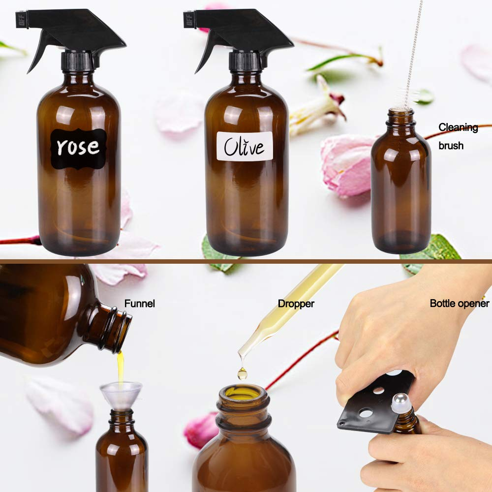 16//4//2oz 6 10 ml Essential Oil Roller Bottles Kits with/& Accessories for Aromatherapy Facial hydration Watering Flowers Hair Care B Glass Spray Bottle Wedama Amber 10 Glass Spray Bottle Set