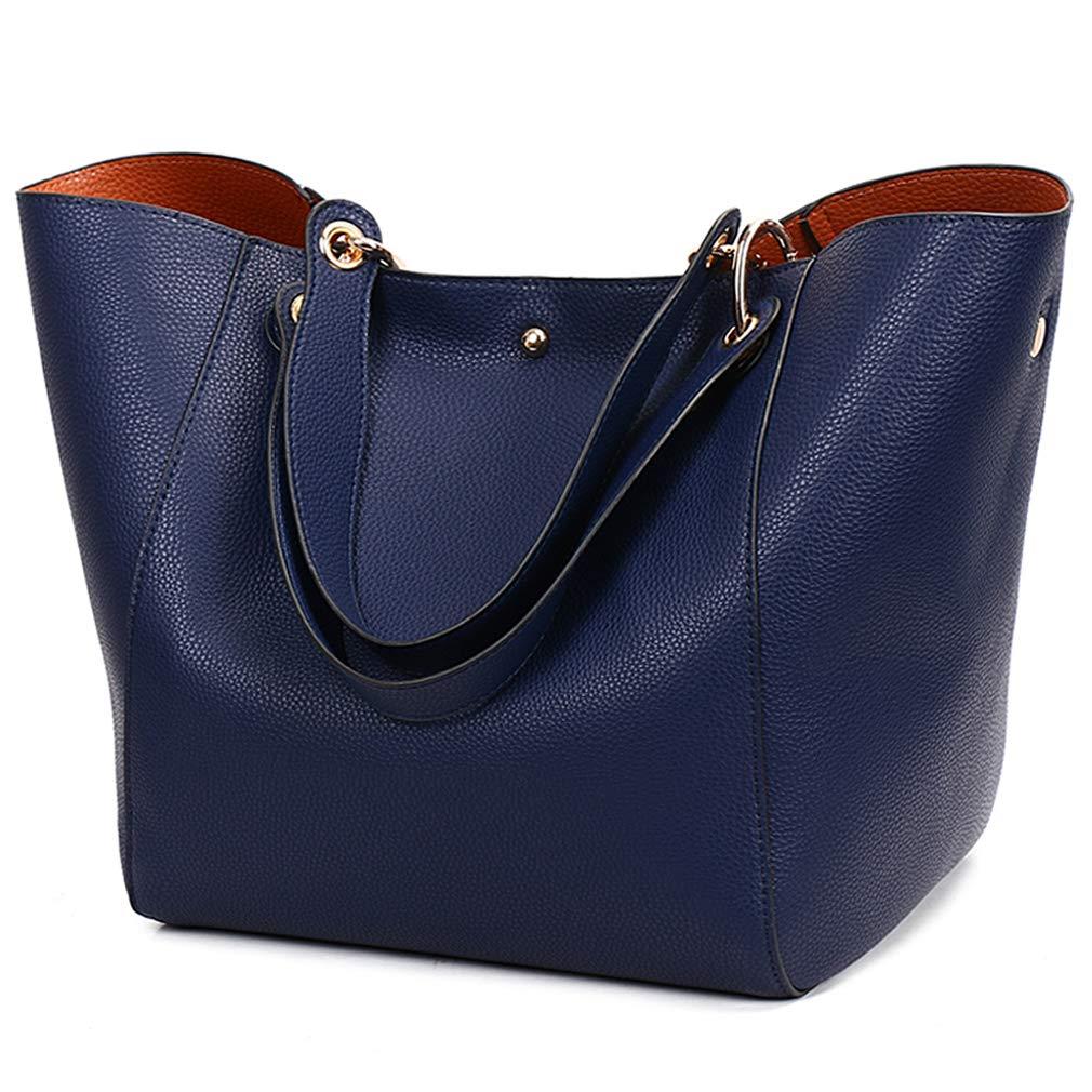 black Pahajim fashion Women PU Leather Bucket Bag business Purses Tote Top Handle Satchel Shoulder with Zipper for Ladies