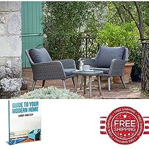 Jardín Patio muebles de ratán para exteriores Lounge silla café mesa con tablero de cristal Juego de muebles de conversación de 3& E libro por Cumbre casa tienda.