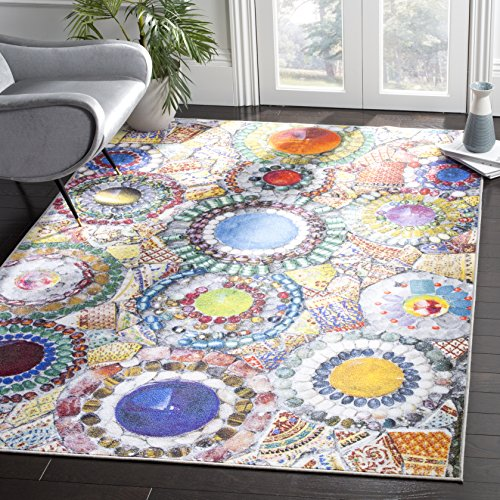 Safavieh Aztec Collection AZT206C Blue and Multicolored Area Rug (5'1 x 7'6)