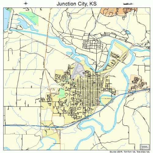 Large Street & Road Map of Junction City, Kansas KS - Printed poster size wall atlas of your home town (Kansas Ks Printed Poster)