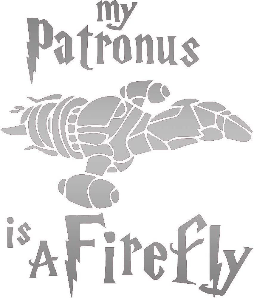 NBFU DECALS My Patronus is A Firefly (Metallic Silver) (Set of 2) Premium Waterproof Vinyl Decal Stickers for Laptop Phone Accessory Helmet Car Window Bumper Mug Tuber Cup Door Wall Decoration