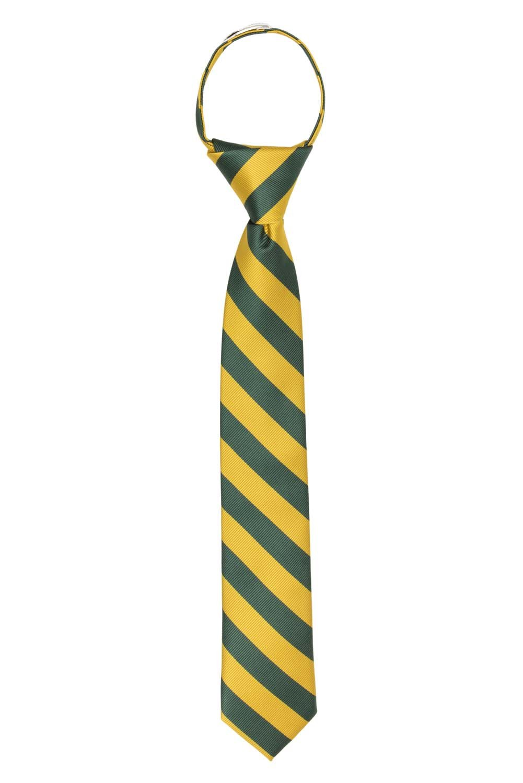 Jacob Alexander Stripe Woven Boys 14 College Striped Zipper Tie - Silver Black JCSBZ005