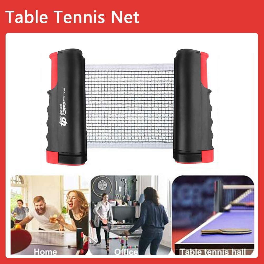 Raquette de Ping Pong Professionnel Set Portable avec Filet R/étractable Jeu Int/érieur Ext/érieur Ping Pong Set 2 Raquette de Tennis de Table + 3 Balles + 1 Filet
