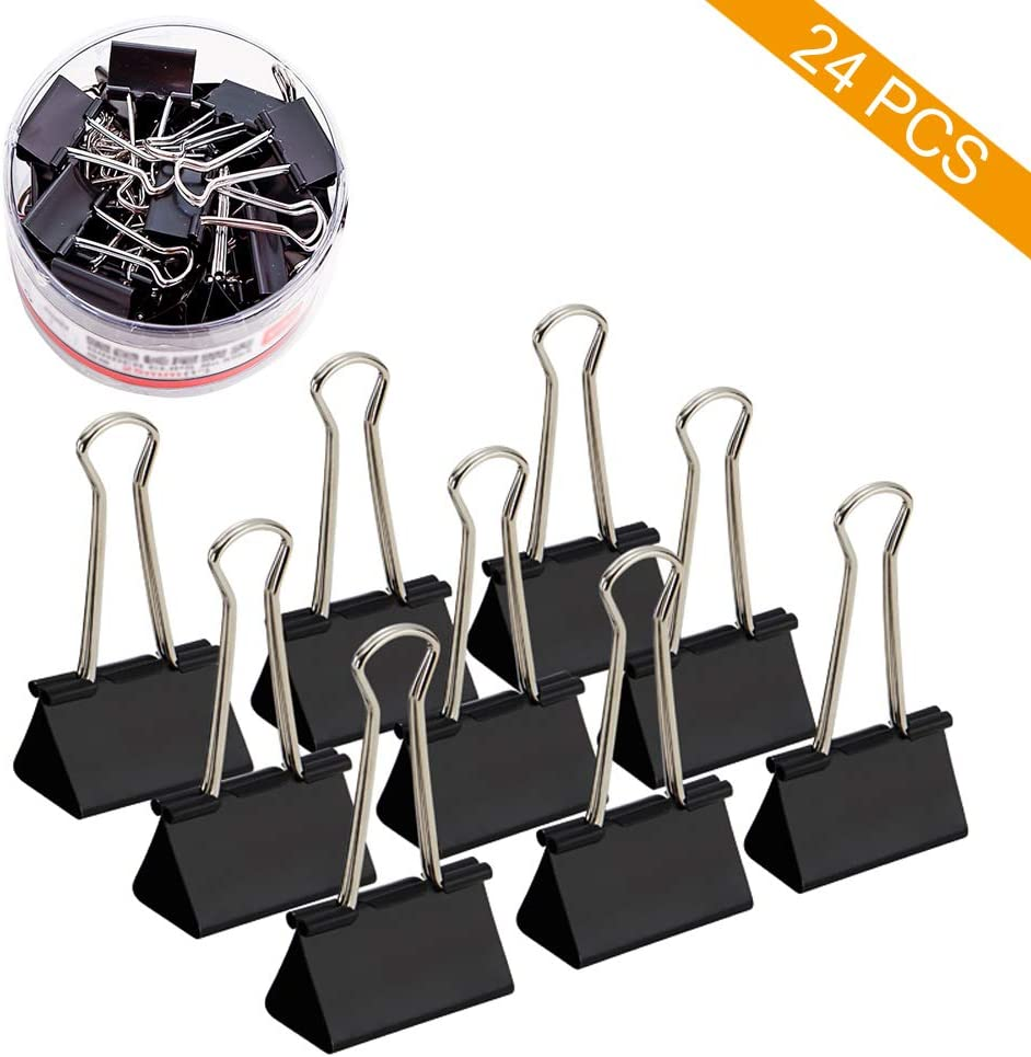 Medium Black Paper Binder Clips Clamps, Coideal 24 Pack 1 1/4 Inch Metal Bulldog Clip Photo Picture Bag Sealer File Document Clip Holder for Office Home Kitchen (32mm)
