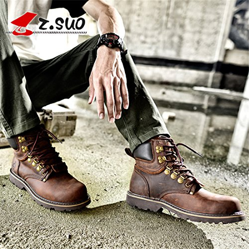 HENGJIA Mens Cowskin Martin Ankle Booties Lace Up Combat Boots ZS16508 Braun