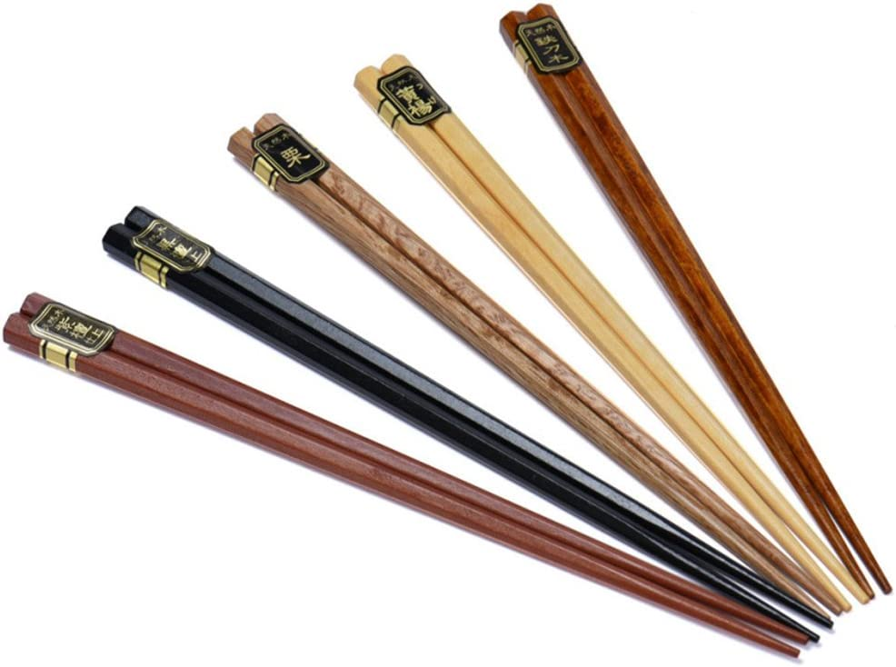 5 paires de baguettes baguettes de la nature japonaise de bo/îte en bois /écologique dans une bo/îte cadeau noble
