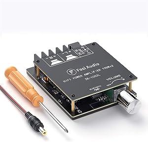 Bluetooth 5.0 Stereo Audio Receiver Amplifier Board 2 Channel Mini Wireless High Power Digital Amp Module for Home Passive Speakers 100W x 2 Fosi Audio ZK-1002L