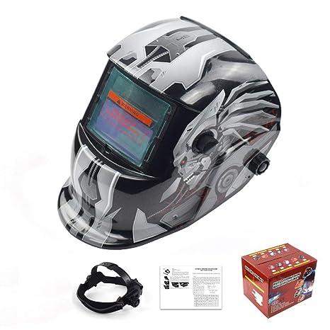 MTSBW Casco De Soldadura Energía Solar Capa Oscurecimiento Automático Soldador Máscara Cascos Pulido Transpirables con Rango