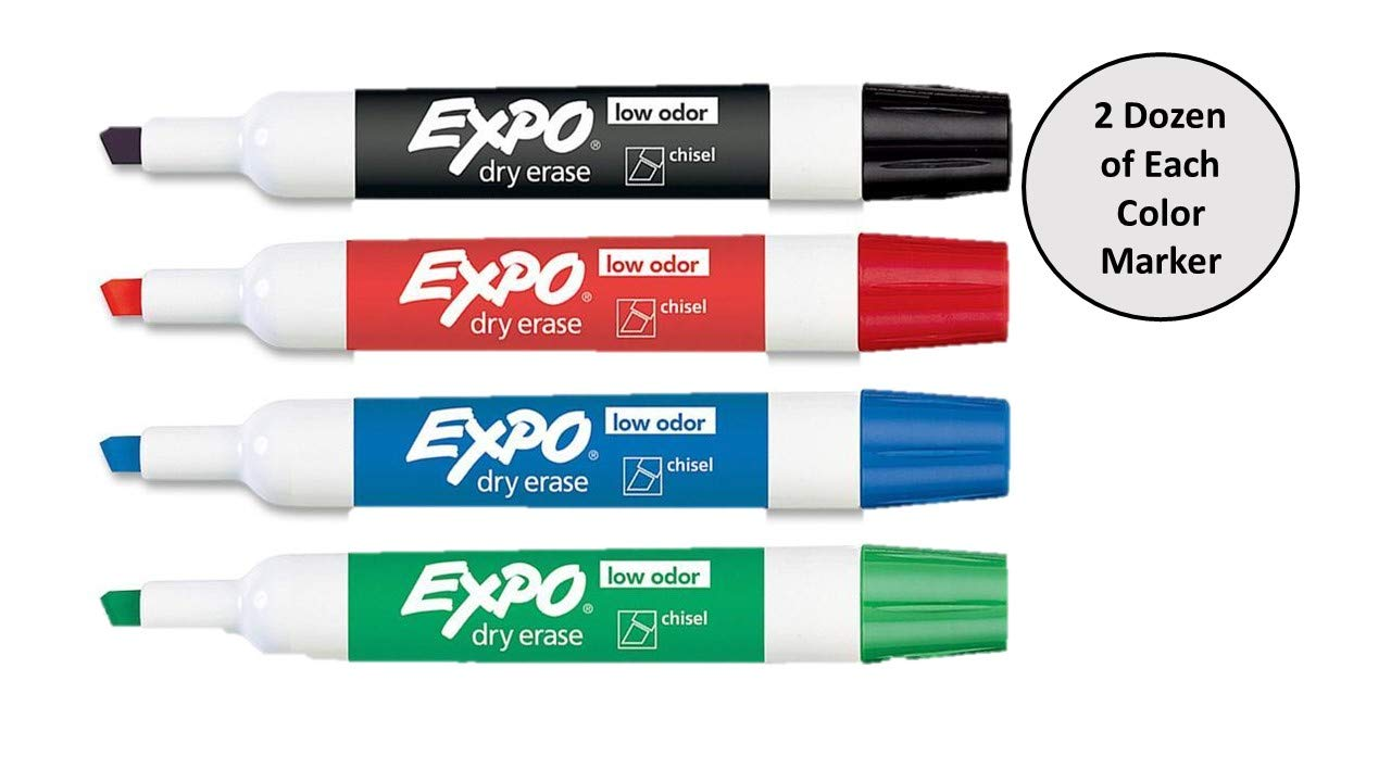 Expo Low Odor Dry Erase Markers Assorted Black, Blue, Green, Red - 2 Dozen of Each Color, 96 Markers Total