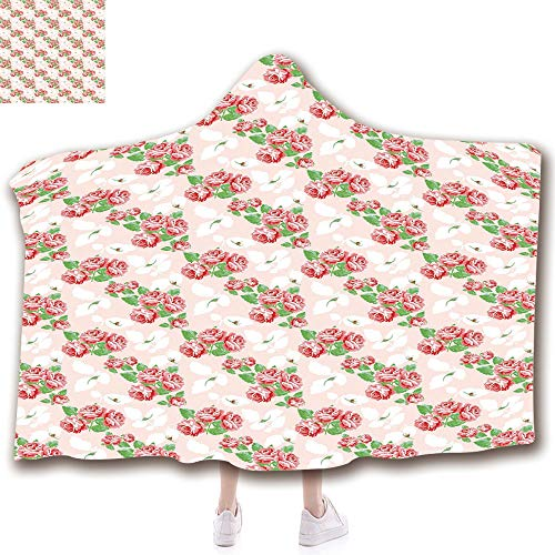 - Fashion Blanket Ancient China Decorations Blanket Wearable Hooded Blanket,Unisex Swaddle Blankets for Babies Newborn by,Bouquets Pattern Classical Pastel Fantasy Soulful,Adult Style Children Style