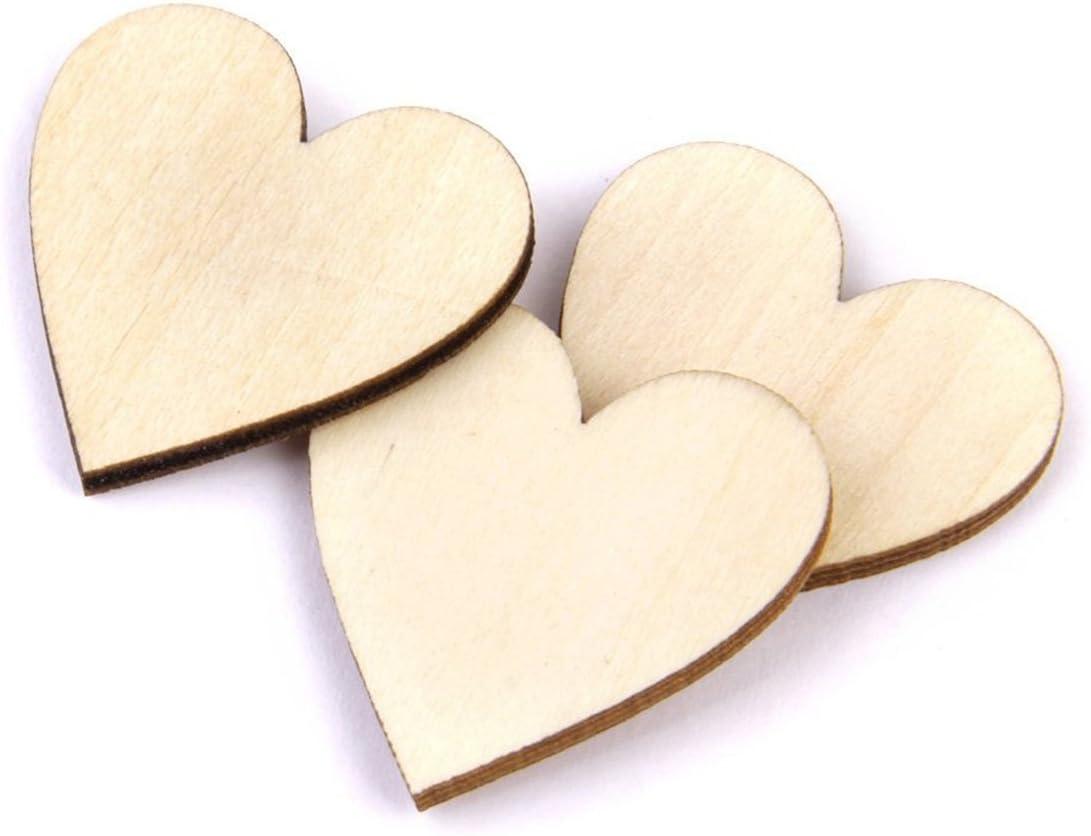 50pcs couleur du bois VORCOOL Coeurs de bois coeur bois tranches disques pour artisanat bricolage embellissements