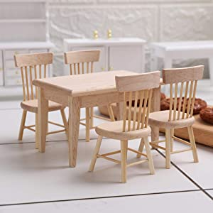 Z MAYABBO Wooden Dollhouse Furniture of Table & Chair, Miniature Dollhouse Accessories of Dining Room Accessory - 1/12 Scale