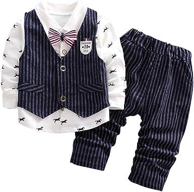 Veste Gilet URMAGIC B/éb/é Gar/çons 3Pcs Gentleman Costumes Suits Bapt/ême Chemises N/œud Papillon Pantalon,Enfants Tenue Formel de Soir/ée Mariage Ensembles 0-5 Ans
