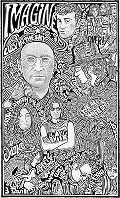 """John Lennon - Inspired Letterpress Art Print Poster -Detailed Pen and Ink Original Hand Drawing 11""""x17"""""""
