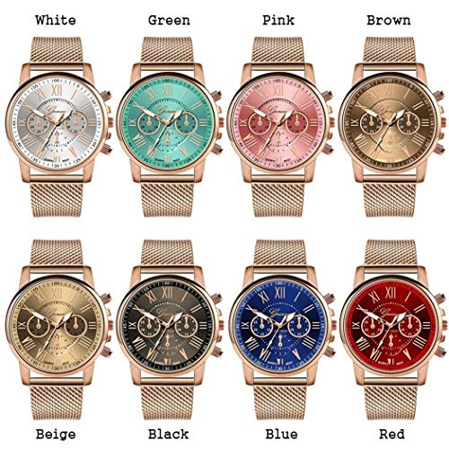 - OYTRO Wrist Watch 1 Pc Women Fashion Quartz Watch Casual Metal Gift Wrist Watch (8 Colors) (Pink)