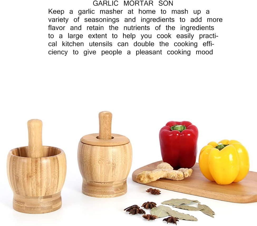 Trituradora de Molinillo de Prensa de Ajo de Taz/ón de Bamb/ú Premium para Guacamole Cocina Pimienta Verdelife Juego de Mortero Y Mortero