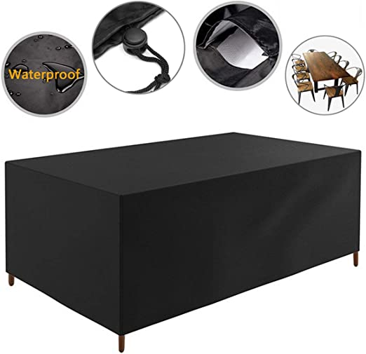 Amazon Com Maraba Furniture Cover Patio Table And Chair Covers Rectangular Waterproof Outdoor Universal Patio Set Cover Black 83 85x51 96x29 13in Black Kitchen Dining