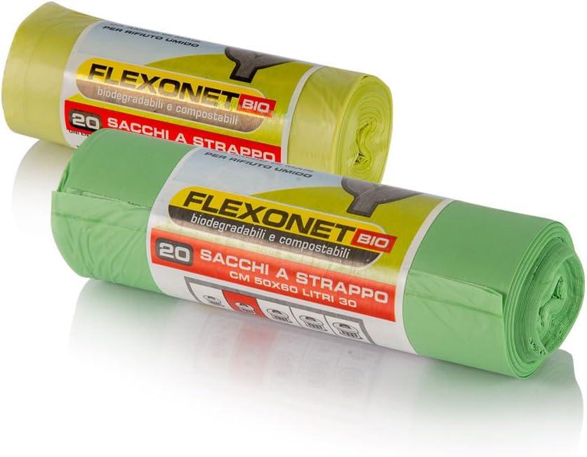 Rollo de 100 bolsas biodegradables,50 x 60 cm, 30 litros, Rollo ...