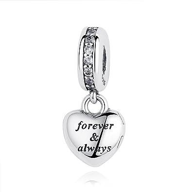 b59c9bf0ae2bba Forever & Always Heart Dangle Charm Pandora & European Bracelets  Compatible: Amazon.co.uk: Jewellery
