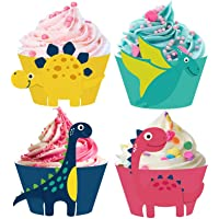 24pcs Dinosaur Cupcake Wrappers for Dinosaur Theme Birthday Kids Party Supplies