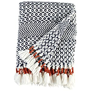 Rivet Modern Hand-Woven Adeline Stripe Fringe Throw Blanket by ST-523465