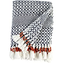 "Rivet Modern Hand-Woven Stripe Fringe Throw Blanket, Soft and Stylish, 50"" x 60"", Navy"