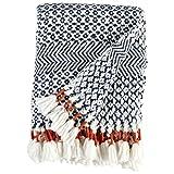 #8: Rivet Modern Hand-Woven Adeline Stripe Fringe Throw Blanket